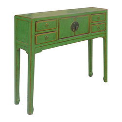 Golden Lotus - Green Lacquer Narrow Chinese Moon Face Console Altar Table - This is an elegant green altar table, which has one shelf and four drawers.  It is made of solid elm wood at northern part of China.  It is narrow, and won't spend too much space in your house.