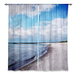 "DiaNoche Designs - Window Curtains Lined by Iris Lehnhardt Blue White Skies - Purchasing window curtains just got easier and better! Create a designer look to any of your living spaces with our decorative and unique ""Lined Window Curtains."" Perfect for the living room, dining room or bedroom, these artistic curtains are an easy and inexpensive way to add color and style when decorating your home.  This is a woven poly material that filters outside light and creates a privacy barrier.  Each package includes two easy-to-hang, 3 inch diameter pole-pocket curtain panels.  The width listed is the total measurement of the two panels.  Curtain rod sold separately. Easy care, machine wash cold, tumble dry low, iron low if needed.  Printed in the USA."