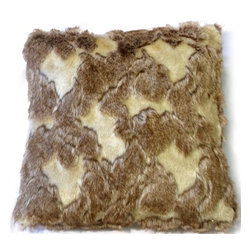 Pillow Decor - Pillow Decor - Variegated Faux Fur 20x20 Throw Pillow - This stunning faux fur throw pillow is a textural delight. Patches of sandy blonde short fur are interspersed among larger areas of soft deep pile light brown fur. The result is a luxurious and rustic faux fur throw pillow that would be a fantastic addition to a cottage, cabin or any space to which you want to add a little rustic charm.