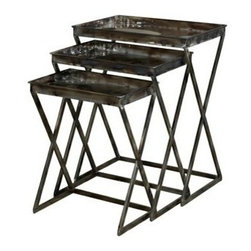 "PWL798-266 - Gloss Metal Finish Set Of 3 Nesting Tables - Gloss metal finish Set of 3 Nesting Tables.  Industrial and vintage combine to form these eyecatching metal Nesting Tables. The Set of three graduated tables feature trendy, sturdy shaped legs and flat spacious tabletops. The gloss metal finish makes this set distinctively different. Will instantly add function and style to your decor. Tables measures:  Lrg: 21-1/8"" x 14-3/4"" x 26-5/8"" tall, Med: 18-3/4"" x 12-3/4"" x 23-7/8"" tall, Sml: 16-3/8"" x 10-7/8"" x 20-5/8"" tall.  Some assembly required.  Material Content: metal"