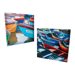Pair of Colorful Boats Printed Canvas Wall Art - This square pair of colorful canvases feature beautiful boats on the water. Each measures 15 3/4 X 15 3/4 inches and mounts to the wall with a single nail or screw. They are a wonderful addition to rooms and bathrooms with a nautical theme, and are sure to brighten any room you hang them in.