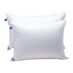 Daniadown - Daniadown Deluxe Duck and Feather Down Pillow Multicolor - 2000201 - Shop for Pillows from Hayneedle.com! The Daniadown Deluxe Duck and Feather Down Pillow is filled with equal parts duck down and duck feathers. The result is an ideal balance of comfort and support that will leave you sleeping soundly. A woven cotton cover with a respectable 260 thread count leaves this pillow smooth and soft to the touch. Sizes:Standard: 26L x 16H inches fill weight 20 oz.Queen: 29L x 19H inches fill weight 24 oz. King: 36L x 19H inches fill weight 30 oz.About DaniadownDaniadown Home (Daniadown Quilts Ltd.) was founded in 1967 by Jon Andersen. Today the business is still owned and operated by the Andersen family. Daniadown's vision is to offer its customers superior quality products and services at value prices. They are able to maintain this strategy by designing and manufacturing the majority of their products.