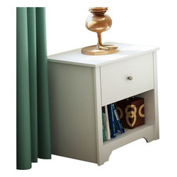 South Shore - South Shore Breakwater Nightstand in Pure White Finish - South Shore - Nightstands - 3150062 - The Breakwater Nightstand has a laminated particle board construction with a pure white finish. This nightstand features one drawer and an open compartment for ample storage. It has Smart Glide drawer slides for a smooth gliding motion and metal handles for easy access to your belongings. With sleek clean straight lines the Breakwater Nightstand will be a perfect compliment to your bed or the corner of your bedroom.The transitional style of the Breakwater collection from South Shore Furniture provides a calming comforting atmosphere to any bedroom. It features simple clean lines that are softened by a decorative kickplate. The beauty of the warm finish is enhanced by metal hardware for a stylish contrast. The minimalist design of the South Shore Furniture Breakwater collection is perfect for today's styles.Features: