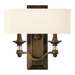 Hinkley - Hinkley 4900EZ Sussex 2 English Bronze Light Wall Sconce ADA 4900EZ - Sophisticated yet comfortable, classic yet hip, worldly yet close to home design with infinite inspiration. The Sussex Collection delivers the finest of today's home fashions for the perfect balance of style, form and function.Finish: English Bronze Includes White fabric Shades Uses Bulb: Two 60W Medium Base Certification: c - UL - us Dry Usage: InteriorBackplate Dimension: W: 14 Bulb Type: Incandescent Canopy Dimensions: 4.5 Collection: Sussex Extension: 4 Height: 14 Light Direction: Up Lighting Number Of Lights: 2 Shade: Ivory Fabric Socket 1 Base: CANDLE Socket 1 Max Wattage: 60 Style: Rustic Country Suggested Room Fit: Bedroom, Living Room, Office, Studio Watts Per Bulb: 60 Width: 14