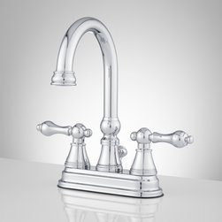 Melanie Centerset Gooseneck Faucet - Lever Handles - Contemporary design paired with classic metal handles make this gooseneck centerset faucet a statement piece for your bathroom. With included matching pop-up drain, this centerset faucet will be a simple upgrade to your sink top.