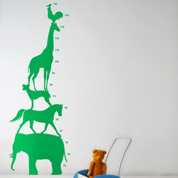 Animal Tower Wall Stickers - Green - With our decorative WallStickers, it is easy to create a new look and change the style of a room in a matter of minutes. Can be applied to all even and smooth surfaces. Will not stick to rough surfaces, such as brick walls etc.