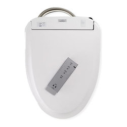 Toto - Toto Round Automatic Lid Washlet - SW583#01 - Shop for Seats from Hayneedle.com! A standard round toilet becomes so much more when you add a Toto Round Automatic Lid Washlet. This major upgrade eliminates paper and automates the entire experience leaving you and your bathroom cleaner than ever before. You'll enjoy a warm water washing Wonderwave spray warm air dryer heated soft-close automatic seat and the incredible cleaning benefits of a self-cleaning mechanism and revolutionary ewater+. How does it work? As you approach the toilet the seat automatically opens and sprays a pre-mist in the bowl The wand self-pre-cleans At your command the wand extends and releases a warm soothing stream of aerated water and automatic warm air drying The wand cleans itself again Toilet flushes and lid automatically closes Sprays an ewater+ cleaning mist into the toilet bowl After 8 hours of non-use automatically cleans the bowl with ewater+ Features Washlet cleaning with 5 spray settings Instantaneous water heating Built-in air deodorizing system Automatic open and close Adjustable water and seat temperatures Warm-air dryer Easy-to-read illuminated remote control Magnetic wall-mount remote cradle 2-use personal memory settings Mounting hardware and connections included About ewater+ Electrolyzed water (ewater+) is a proven disinfectant used in food preparation and cleaning. This washlet uses your existing incoming water supply to create an electrolyzed pre-mist that wets the toilet bowl surface before use. This results in 80% better waste elimination than a dry bowl! After each flush the ewater+ mists the bowl again reducing the need for harsh cleaning chemicals. About TOTO TOTO Ltd was founded in Kitakyushu Japan along with TOTO USA in 1917. In almost a century they have grown into an international company with over 60 million plumbing fixtures produced and $5.1 billion dollars in annual sales. Today TOTO is the largest plumbing manufacturer in the world and maintains 60 off