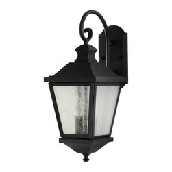 Feiss - Woodside Hills Wall Lantern - Woodside Hills Wall Lantern is available in a Black finish.  Also available in a one, two or three light. These simple yet substantial rustic lanterns compliment virtually every style home. The seeded glass creates a gentle, clean welcoming light.  One Light: One 100 watt, 120 volt A19/Medium base Incandescent lamp is required but not included.  6.5 inch width x 10.75 inch height.  Two Light:  Two 60 watt, 120 volt A19/Medium base Incandescent lamps are required but not included.  8 inch width x 19.75 inch height.  Three Light:  Three 60 watt, 120 volt A19/Medium base Incandescent lamps are required but not included. 9.75 inch width x 23 inch height. UL listed for Wet Locations.