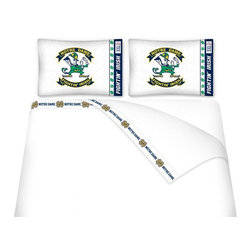 Sports Coverage - Sports Coverage NCAA Notre Dame Fighting Irish Microfiber Hem Sheet Set - Twin - NCAA Notre Dame Fighting Irish Microfiber Hem Sheet Set have an ultrafine peach weave that is softer and more comfortable than cotton. Its brushed silk-like embrace provides good insulation and warmth, yet is breathable.   The 100% polyester microfiber is wrinkle-resistant, washes beautifully, and dries quickly with never any shrinkage. The pillowcase has a white on white print beneath the officially licensed team name and logo printed in vibrant team colors, complimenting the new printed hems.    Features: -  Weight of fabric - 92GSM ,  - Soothing texture and 11 pocket,  -  100% Polyester,  - Machine wash in cold water with light colors,  - Use gentle cycle and no bleach ,  - Tumble-dry,  - Do not iron ,