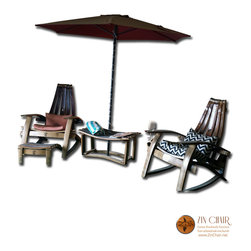 Two Adirondack Chairs, Two Footrests & Zin Bench - Wine Barrel Chairs - By Zin Chair - Wine Barrel Furniture - Adirondack Chairs in Ventura County CA - http://www.zinchair.net/wine-barrel-furniture/chairs/
