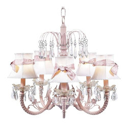 Belle & June - Pretty In Pink Waterfall Chandelier - Fit for a princess, this strikingly elegant 5-arm ivory chandelier features tailored ivory dupioni silk shades, a dramatic pink iron base, and hanging crystals throughout. Hang this delightful and ornate chandelier in your little girl's bedroom or nursery.