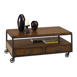 Hammary - Baja Rectangular Cocktail Table - One storage shelf. Two drawers. Four casters. Limited warranty. Assembly required. 48 in. W x 30.5 in. D x 19.5 in. H