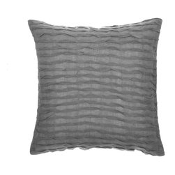 "La Mode Couture - Royal Ripples Grey Pillow 20"" x 20"" Includes Feather/Down Insert - Vivify your space with a royal makeover. Rest in exquisite textiles while you revivivy for a radiant new day. An aura of smooth continious open weave ripples are clearly made to be eye-catching."