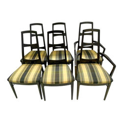 """Pre-owned Mid-Century Black Teak Dining Chairs - Set of 6 - A set of six 1960s dining chairs, including two armchairs and four side chairs. They have lovely lines, with tall backs and new upholstery and interiors on the seats. The frames are made of teak wood and stained in black. They have been totally restored by Greene Street Antiques and are in excellent condition.     Seats are 17.75""""H."""