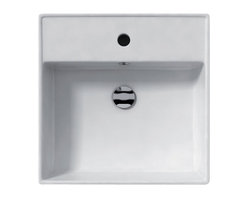 WS Bath Collections - Ceramica 18.3 Above The Counter Bathroom or W - Over-counter or Wall-mount Installation. ADA. With Overflow. Made to Highest Industry Standards. Made in Italy. Product Material: White Ceramic. Finish/Color: White. Faucet Holes: 1. ADA Compliant. Dimensions: 18.3 in. W x 18.3 in. L x 5.5 in. H