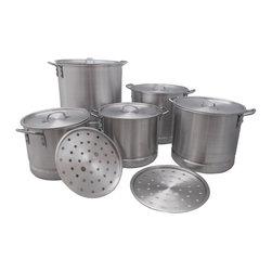 IMPERIAL - Heavy Duty Aluminum Stock Pot Set of 5 with Lids and Steamer Inserts20qt, 24qt, - This set of 5 heavy duty aluminum stock pots feature double riveted handles, with steamer inserts and lids for each size. Sizes included are 20 qt, 24qt, 32qt, 40qt and 52qt.