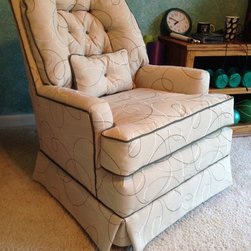 Retro Chair, Reupholstered - Retro Chair reupholstered in an updated fun fabric.