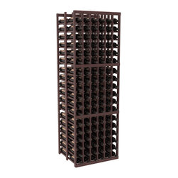 Wine Racks America - 6 Column Double Deep Cellar in Redwood, Walnut + Satin Finish - This high capacity 6 column wine rack holds up to 18 cases of wine. Designed for beauty and efficiency, you'll love this rack. Made in the USA and guaranteed to last a lifetime. Double deep wine racks are perfect for large wine cellars and retail applications.