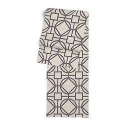 Charcoal & Natural Modern Trellis Custom Table Runner - Get ready to dine in style with your new Simple Table Runner. With clean rolled edges and hundreds of fabrics to choose from, it's the perfect centerpiece to the well set table. We love it in this teal geometric trellis on thick natural cotton. A bold statement of modern meets rustic.
