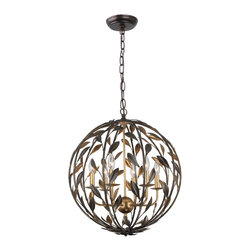 Crystorama - Crystorama Broche Chandelier X-AG-BE-605 - From the French brooch, the Broche collection lights up a room with tailored elegance. The simple wrought iron leaves on each light are hand painted in one of two metallic finishes - burnished antique gold or English bronze. There's also a two-tone sphere option that embraces one of fashion's hottest trends - mixing metals.
