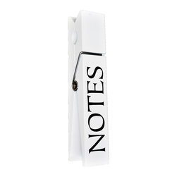 "Lightaccents - 10"" Jumbo Wooden Message Clip / Large Clothes Pin Style ""NOTES"" (White) - Wooden message clip shaped like an oversized clothes pinCasual, rustic style that's perfect for use in any home or office Functional design that can hold note cards, memos, and photos Use alone or pair in groups to make a bold statement Measures 10 in. high This unique desk accessory offers function and adds a touch of whimsical style that's sure to garner some attention.  The 10 in. Jumbo Wooden Message Clip / Large Clothes Pin Style ""TO DO in. is made from wood and features an oversized clothes pins design with a metal hinge and a clip top that can be used to hold photos, memos, messages, and all types of important papers.  Perfect for use at home or in the office, this jumbo clothes pin has a playful look that adds character and charm to any desk setup.  Detailed with the words ""to do, in. this large message clip has a stand up design with a flat bottom that can balance easily on any smooth surface.  Place it on the corner of your desk to keep important reminders within your line of sight.  Whether you need to keep track of meetings, appointments, or upcoming parties and social events, this jumbo clothes pin lets you personalize your desk with distinction.Available in a range of colors and patterns with different prints and designs, this clothes pin note card holder can be used to hold photos from a recent event, show off children""s artwork to your coworkers, or display a picture of your family or your pets in the office.  For use at home, this message clip can be used to hold love notes to your spouse or significant other, important reminders for the kids, or shopping lists of things that you need to remember to pick up at the market.  The slim design makes it easy to stand up on a desk, a cabinet, a window ledge, or a shelf in any room.  Measuring 10 in. high, this jumbo wood clip has a casual look that lets you express your unique sense of style and add fun and function to your home or workspace.  The sturdy design is intended for long lasting durability and can be used as an individual piece or combined with other jumbo clips to make a real statement."