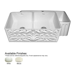 Whitehaus Collection - Whitehaus WHFLGO3318-W White Fireclay Kitchen Sink With A Gothic Swirl D - The Benefits of an Authentic farmhouse sink. The Quality of the Finish - The glazing of the sink surface provides both durability and shine over long periods of time. The raw material used fine fireclay allows for uniformity in the finish.
