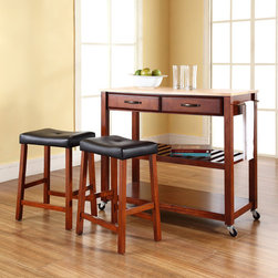 Crosley - Kitchen Cart Set - Constructed of solid hardwood and wood veneers, this mobile kitchen cart is designed for longevity. The handsome raised panel drawer fronts provide the ultimate in style to dress up any culinary space. Two deep drawers are great for holding essential items, such as utensils or storage containers. The adjustable/removable shelf is great for appliances. Remove the shelf completely to allow for storing larger objects. The heavy duty casters provide the ultimate in mobility. Style, function, and quality make this mobile solution a wise addition to your home. Features: -Solid natural wood top.-Raised panel drawer fronts.-Adjustable and removable shelf.-Towel bar.-Product Type: Kitchen cart.-Counter Finish: Natural wood.-Hardware Finish (Frame Finish: Black): Brushed Nickel.-Hardware Finish (Frame Finish: Cherry): Antique Brass.-Hardware Finish (Frame Finish: White): Brushed Nickel.-Distressed: No.-Powder Coated Finish: No.-Gloss Finish: No.-Base Material: Hardwood and veneers.-Hardware Material: Steel.-Solid Wood Construction: No.-Exterior Shelves: Yes -Number of Exterior Shelves: 1.-Adjustable Exterior Shelving: No..-Drawers Included: Yes -Number of Drawers: 2.-Push Through Drawer: No.-Dovetail Joints: No.-Drawer Dividers: No.-Drawer Handle Design: Handle.-Silverware Tray : No..-Cabinets Included: No.-Towel Rack: Yes -Removable Towel Rack: No..-Pot Rack: No.-Spice Rack: No.-Cutting Board: No.-Drop Leaf: No.-Drain Groove: No.-Trash Bin Compartment: No.-Stools Included: Yes -Number of Stools Included: 2..-Casters: Yes -Locking Casters: No.-Removable Casters: No..-Wine Rack: No.-Stemware Rack: No.-Cart Handles: No.-Swatch Available: No.-Commercial Use: No.-Recycled Content: No.-Eco-Friendly: No.-Product Care: Use a soft clean cloth that will not scratch the surface when dusting. Use of furniture polish is not necessary. Should you choose to use a furniture polish, test in an inconspicuous area first. Use of solvents of any kind could damage you