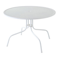 Crosley Furniture - 40 in. Metal Dining Table - White finish. UV resistant. Non-Toxic powder coated finish. Warranty: 90 days. Made from steel. Assembly required. Minimum: 40 in. Dia. x 25 in. H (26.5 lbs.)Relax outside for hours on our nostalgically inspired Griffith metal outdoor furniture. Set down your glass of iced tea on this sturdy steel dining table, designed to withstand the hottest of summer days and other harsh conditions.
