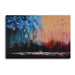 """Omax Decor - Transposing Seasons Hand painted oil canvas - Overall size: 24"""" x 36"""". Enjoy a 100% Hand Painted Wall Art made with oil paints on canvas stretched over a 1"""" thick wooden frame. The painting is professionally hand-stretched and ready to hang out of the box. With each purchase of our art you receive a one of a kind piece due to the handcrafted nature of the product."""