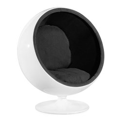 ZUO MODERN - MIB Lounge Chair Black - Bring back the sixties, this fun and iconic chair has two plush velour cushions inside a glossy fiberglass shell with a swivel base. Party on and peace out!