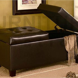 Coaster - Dark Brown Tufted Storage Ottoman Bench - Add more storage to your home or office with this beautiful dark brown tufted ottoman Bench is constructed with a sturdy wooden frame and legs Furniture is covered in dark brown bi-cast leather