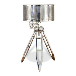 "Kathy Kuo Home - Bayswater Silver Tripod Nautical Tabletop Lamp - ""Nautically inspired and truly one-of-a-kind, this tripod tabletop lamp is detailed with a functional navigation wheel that can be used to adjust the lamp vertically.  Completed with a polished nickel finish and a solid sheet brass lampshade finished in a polished silver, the Bayswater Table Lamp will add striking detail along with just enough luminosity and shadow in any room."