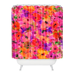 Amy Sia Fleur Rouge Shower Curtain