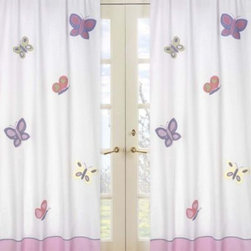Sweet Jojo Designs - Sweet Jojo Designs Butterfly Window Curtain Panel Pair in Pink/Purple - The Butterfly Window Curtain Panel Set from Sweet Jojo Designs highlight pink and purple butterflies fluttering across a pair of window curtains that add a sense of warmth and style to any room in your home.