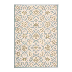 "Nourison - Nourison Carribean CRB02 9'3"" x 12'9"" Ivory, Blue Area Rug 23950 - Go Tropical with a flourish in vivid Caribbean style. This delightful collection of quality loomed rugs provides an instant housewarming. Choose from an exciting array of foliage and flower based designs, some with bold interplays of curvaceous geometrics. Concieved in deeply pigmented tones that contrast beautifully with soft nuetrals, for an effect as lush and welcoming as a sultry island. The woven loop pile adds an appealing accent of visual and tactile texture."