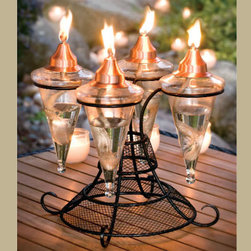 Glass Table Top Torch - This unique design featuring four glass torches with copper tops is great lighting for any outdoor table. H. Potter offers a wonderful selection of unique and impressive home and garden designs that are built with an eye for detail and a determination to provide overall quality.