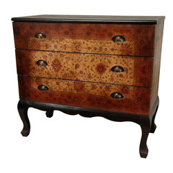 Oriental Furniture - Olde-Worlde Euro Three Drawer Console - A simple, beautifully designed and proportioned three drawer chest, with elegant Queen Ann style carved legs and apron, complimenting the lovely, European design faux leather finish. The drawer fronts are decorated with subtle, muted colors in an attractive old world design, attractively accented by unique, distinctive drawer pulls. The size and shape as well as the elegant finish have made this a particularly popular design. A great hall chest, a small server, a large end table or night stand, or a lovely accent cabinet in a living or family room.