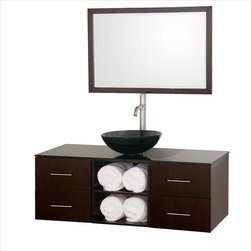Wyndham Collection - Wyndham Abba Vanity Espresso - The beautiful Abba bathroom vanity set showcases versatility with an open storage area for towels, baskets, and other toiletries, four drawers for other accessories, and a mirror that hangs horizontally or vertically to best suit your needs. Customize it with your choice of countertop and sink.