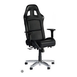Playseat - Office Chair in Black - Optional gaming kits available for use with most electronic gaming mice, keyboards, joysticks and racing wheel sets. Patented foldable seat with reclinable backrest. Seat fully upholstered with real leather look vinyl. Gas cylinder lift system for height adjustments. Height adjustable arm rest with soft touch cushion. This Playseat Office Chair has the look and feel of a real racing seat but with the comfort that you need when sitting multiple hours at your desk. A high quality gas cylinder lift system makes sure the driver is positioned optimally for the perfect racing experience. The seat is upholstered with the highest quality black alcantara. The patented foldable seat with adjustable backrest provides ultimate flexibility. 24.5 in. L x 25.5 in. W x 50.5 in. H (44 lbs)