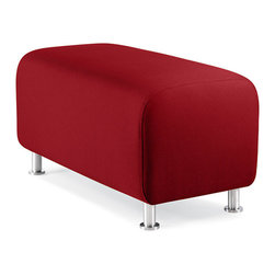 Turnstone - Alight Bench Ottoman - The Alight Bench Ottoman is a lightweight, sturdy ottoman that is suited equally well for home or contract use. Bright upholstery and brushed aluminum legs make it attractive. Can be combined in multiples to make bench seating.