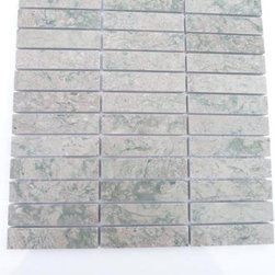 """GlassTileStore - Secret Garden Marble Tile - Secret Garden Marble Tile          This marble mosaic will provide endless design possibilities from contemporary to classic. It creates a great focal point to suit a variety of settings. The mesh backing not only simplifies installation, it also allows the tiles to be separated which adds to their design flexibility. The natural material will have a color variation. .          Chip Size: 1""""x4""""    Color: Verde Rosa    Material: Verde Rosa    Finish: Polished   Sold by the Sheet - each sheet measures 12x12 (1 sq. ft.)            - Glass Tile -"""