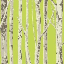 Seabrook Wallcoverings - Green Birch Tree Wallpaper - Modern birch tree wallpaper on lime green background. Nice blend of contemporary and nature-inspired art. EH61004