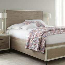 Horchow - Shana Queen Storage Bed - Millennial-modern design bedroom furniture brings fresh, contemporary style to your personal retreat. Made of select hardwoods with elm and birch veneers. Gray and parchment finish. Storage beds feature two cedar-lined drawers in the footboards, pane...