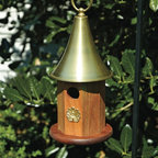 Heartwood - Highland Park Mahogany Birdhouse with Brass Roof - This  beautifully  crafted  ocatgonal  birdhouse  is  everything  first  class  and  the  perfect  finishing  piece  for  any  yard.  The  brass  roof  and  hanging  finial  are  perfect  for  displaying.  The  brass  applique  supplies  the  perfect,  brilliant  touch.  Sufficient  for  any  yard,  home  or  business,  this  prestine  birdhouse  wont  let  you  down.          Product  Details:                  6  diameter  x  14              1-1/4  hole              Handcrafted  in  USA  from  renewable,  FSC  certified  wood