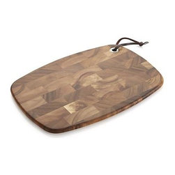 Long End Grain Utility Board - This beautiful, all-purpose utility and serving board is formed from a mosaic of richly figured end-grain acacia wood, a process that gives each board a distinct personality. Compact size also lends itself to use as a trivet. Lightweight board hangs for convenient storage.