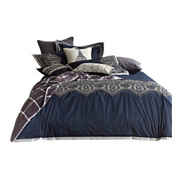 Melange Home - Embrodiery Duvet Cover Set - Full/Queen - Embellished Duvet Cover Set F/Q