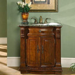 Silkroad Exclusive - Silkroad Exclusive 33-inch Single Sink Cabinet Bathroom Vanity - Add elegance to your bathroom ensemble with this Silkroad Exclusive single sink bathroom vanity. Fully assembled,this vanity is easy to install.