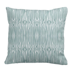 PURE Inspired Design - Mini Zebra Organic Pillow Cover, Light Teal/Natural, 18 X 15 - Collection:  PURE Beach