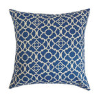 """The Pillow Collection - Taife Geometric Pillow Blue White - Elegant and plush, this accent pillow provides an appealing aesthetic to your interiors. This decor pillow features an elaborate geometric pattern in cool shades of blue and white. This gorgeous throw pillow is ideal for home and office use. You can easily blend this square pillow with solids and other patterns. This 18"""" pillow is made from 100% durable and soft cotton material. Hidden zipper closure for easy cover removal.  Knife edge finish on all four sides.  Reversible pillow with the same fabric on the back side.  Spot cleaning suggested."""