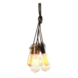 West Ninth Vintage - Mixed Metal Pendant Chandelier - Industrial style chandelier handcrafted with beautiful vintage sockets brass and black and various cords, colors and styles. Two (2) black sockets with brown flat cord, Three (3) brass sockets with black cloth cord, one twisted, 2 straight.  Wired above the canopy and fastened with a custom clip, each pendant can be adjusted to varying heights. Use various Edison bulbs to add a unique look to this handcrafted chandelier. Stagger the lengths or tie a knot without having to rewire the fixture.  This light comes standard with 3' of cord per pendant. Perfect for residential, retail or commercial spaces.